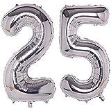 "DEEPTI DECOR Number Twenty Five (25) Silver Color Aluminum Foil HD Latex Metallic Number Digit Foil Balloons16"" Inch Balloon"