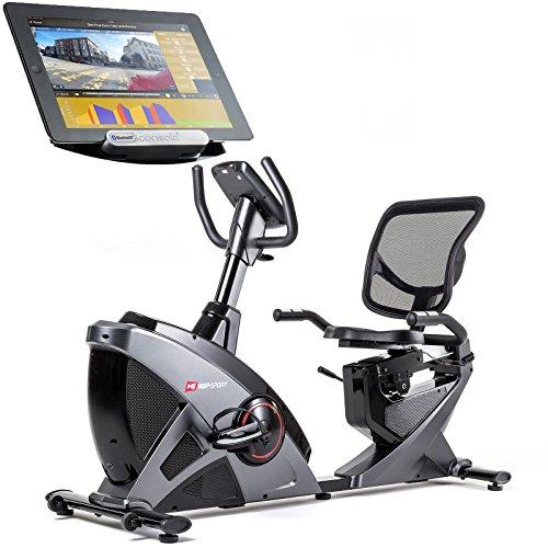 Hop-Sport Liegeheimtrainer HS-070L inkl. Unterlegmatte Sitzheimtrainer Bluetooth 4.0 Smartphone Seteuerung 16 Widerstandsstufen 12 Programme Schwungmasse 18,5 kg Grafit