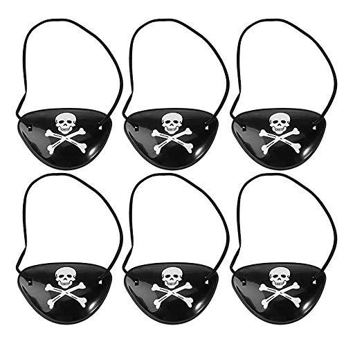 Yiqiane Piraten Augenklappe 6 Stück Schwarz Seeräuber Fasching Karneval Piratenkostüm Geburstag