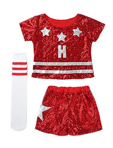 iEFiEL Kinder Mädchen Cheerleading Fußball Cheerleaderin Kostüm Glanz Top und Shorts Pants mit Socken Uniform Set Fasching Karneval Party Kostüm Cosplay Rot 128-140 - Mädchen Uniform Shorts