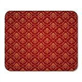 Yanteng Tapis de Souris Tapis de Souris Mur Rouge Bitmap Copie Motif Tapis Vintage Or Royal Tapis de Souris pour Ordinateurs Portables