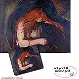 Geschenkset: 1 Poster Kunstdruck (80x60 cm) + 1 Mauspad (23x19 cm) - Edvard Munch, Vampir, 1895