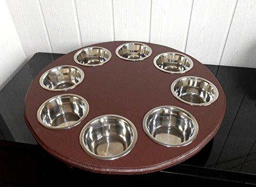 Welpenbar/ Welpennäpfe / Welpenfutter, tolle Futterbar mit 8 Edelstahlnäpfen mit je 350 ml. Handgefertigtes Hundezubehör und Tierbedarf. Lackierung in Braun! (B8B)