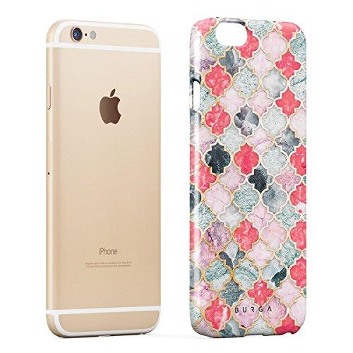 Cover iPhone 6 / 6s Blu Marmo, BURGA Azzuro Turqoise Teal Moroccan Tile Mosaico Design Sottile, Guscio Resistente In Plastica Dura, Custodia Protettiva Per iPhone 6 / 6s Case Sweet Chilli