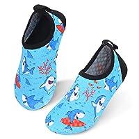 JIASUQI Kids Swim Water Shoes Children Barefoot Aqua Socks Shoes for Beach Pool Dot Shark, 5.5/6 UK Child