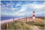 Wallario Premium XXL Vliestapete Leuchtturm am Strand von Sylt - Größe: 400 x 267 cm