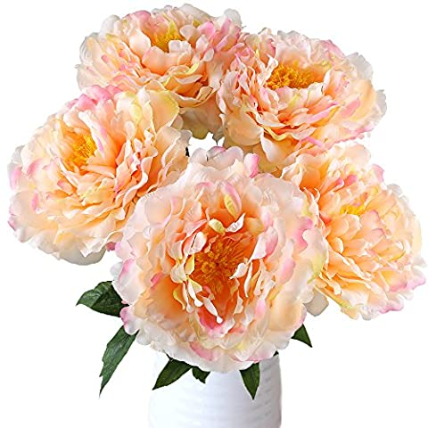 MIHOUNION 5 Large Heads Fake Peony Silk Flower Realistic Artificial Bridal Bouquet for Home Kitchen Wedding Table Centerpieces Garden Outdoor Grave Decorations