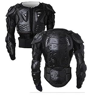 SunTime Motorrad Vollkörper Rüstungsschutz Pro Street Motocross ATV Schutzhemd Jacke mit Rückenschutz Schwarz S