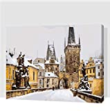 Puente De Carlos En Las Pinturas De Invierno De Praga Por Números Con Pinturas Acrílicas Para La Decoración Del Hogar Pintura Digital 50X60CM
