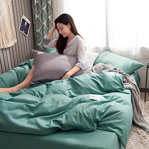 Weiche Atmungsaktive Mikrofaser,Heimtextilien schleifen einfarbig zweifarbig passenden Bettwäsche-Set von vier @ Mint green_Small (Bettbezug 1,5*2,0 Meter Blätter 1,8*2,3 Meter Kissenbezug 48*74*2) -