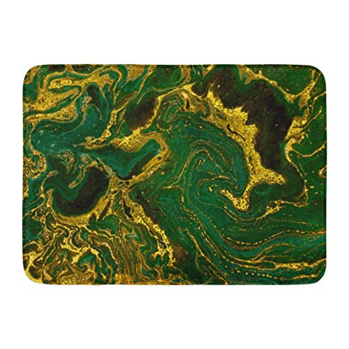 Soefipok Fußmatten Badteppiche Outdoor/Indoor Fußmatte Aquarell Gold Marmor Abstrakt Mineral Grün Goldene Wellen Muster Smaragd Badezimmer Dekor Teppich Badematte -