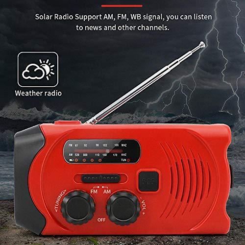 Volwco Solar Radio Outdoor, Kurbelradio AM/FM Wetter Radio Wiederaufladbare Dynamo Radio Wasserdicht mit LED Taschenlampe 2000mAh Powerbank für Wandern,Camping,Ourdoor,Notfall SOS Alarm