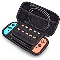 Funda para Nintendo Switch, CompraFun Típica Versión de Estuche de Transporte para Consola Nintendo Switch con 10 Ranura para Tarjeta de Juego, Case Cubierto Negro.