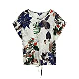 Kanpola Clearance Womens Leaves Printed Short Sleeve Tops Breathable Blouse Cotton Crop Top T Shirt