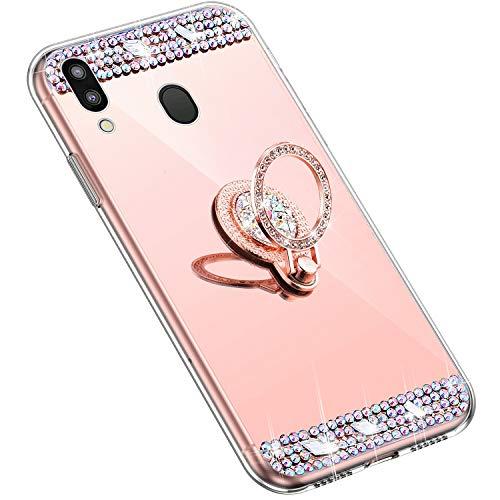 Uposao Kompatibel mit Samsung Galaxy M20 Handyhülle Strass Diamant Kristall Bling Glitzer Glänzend Spiegel Schutzhülle Mirror Case Silikon Hülle Tasche mit Ring Halter Ständer,Rose Gold