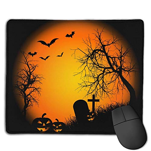Mouse Pad Happy Halloween Bat Pumpkin Rectangle Rubber Mousepad 8.66 X 7.09 Inch Gaming Mouse Pad with Black Lock Edge