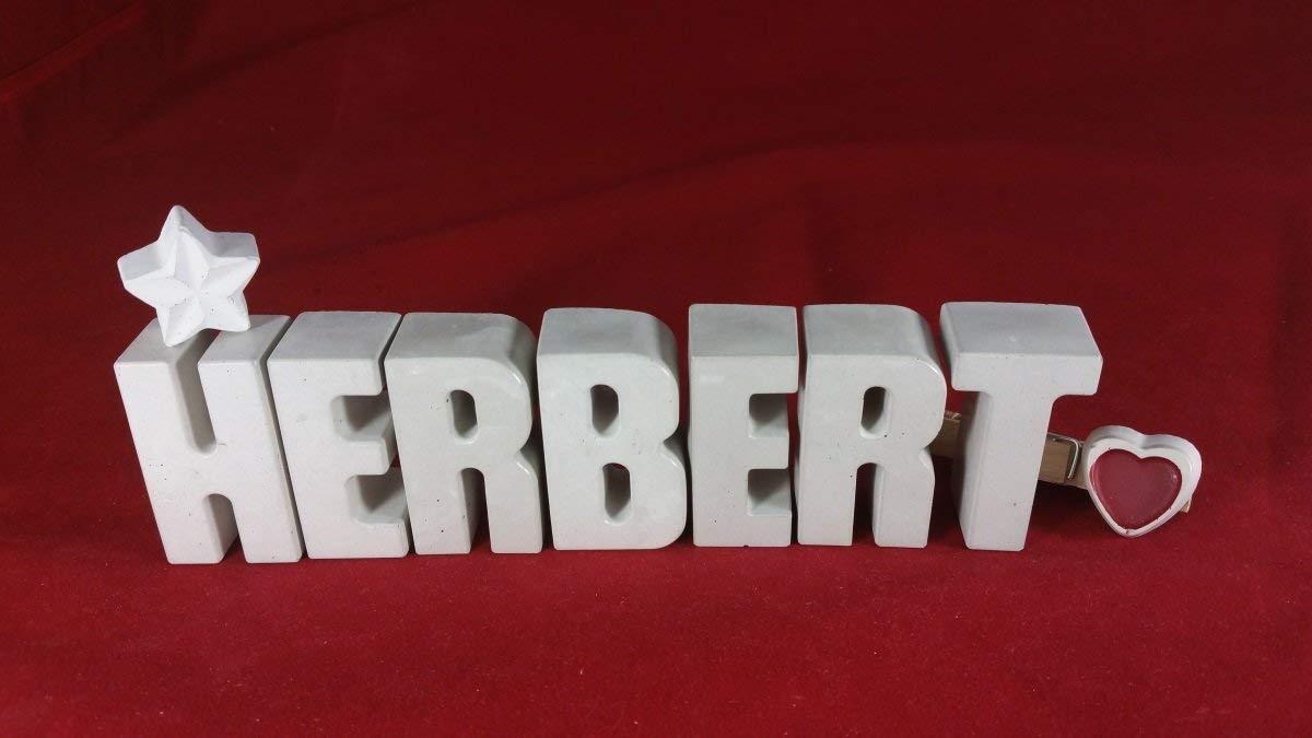 Beton, Steinguss Buchstaben 3D Deko Namen HERBERT mit Stern und Herzklammer als Geschenk verpackt! Ein ausgefallenes Geschenk zur Geburt, Taufe, Geburtstag, Namenstag oder auch zu Weihnachten! 1