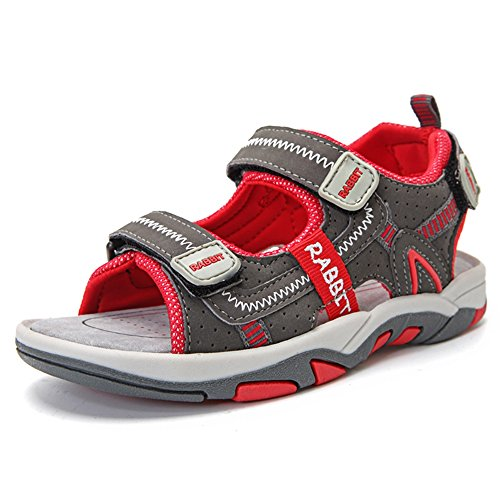 SITAILE Jungen Sommer Geschlossene Sandalen Outdoor Sports Schuhe Wanderschuhe,grau rot,eu 29