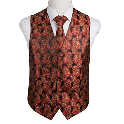 EGD2B.02 Heirat Paisley Microfiber Weihnachten Tuxedo Weste Krawatte Set Von Epoint EGD2B05C-Red Gold