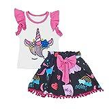 UOMOGO Bimbo Bambino Bambine Neonato Infantile Bambino Ragazza Bambino Senza Maniche Camicia di Chiffon T-Shirt + Maglietta Shorts 0-24 Mesi (età: 0~12 Mesi, Rosa)