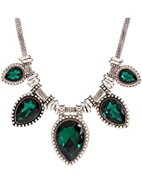 Qiyun Perla Gota Verde Lagrima Corte De Acrilico Collar De Cuello Grueso Dama De La Moda De La Cadena Negro