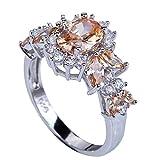 YAZILIND eleganter runder Champagne Crystal Silver Engagement Frauen Ehering Size10