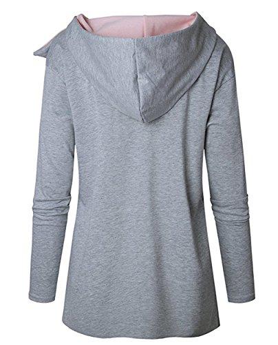 Donna Casual Sweatshirt Autunno e Inverno Felpa con Cappuccio Oversized Hoodies Maniche Lunghe Hoody Pullover Grigio