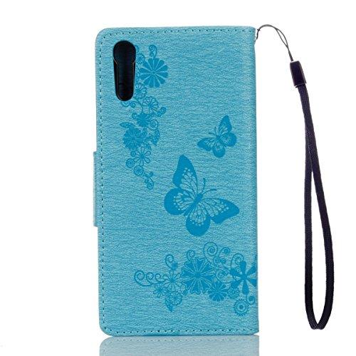 ISAKEN Custodia per Sony Xperia XZ con Strap, Elegante borsa Tinta Unita Farfalla Design in Sintetica Ecopelle PU Pelle Protettiva Portafoglio Flip Case Cover con Supporto di Stand / Carte Slot / Chiu Farfalla: blu