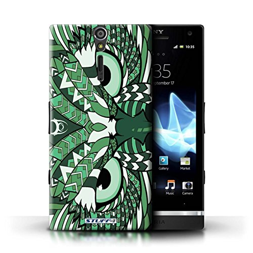 KOBALT® Hülle Case für Sony Xperia S/LT26i | Wolf-Sepia Entwurf | Aztec Tier Muster Kollektion Eule-Grün