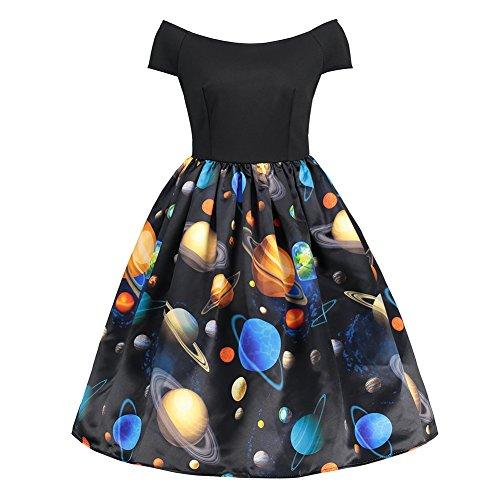 iBaste Fashion Robe Bretelles Impression planétaire d'occasion  Livré partout en Belgique