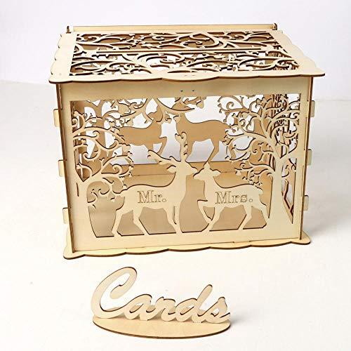 ASFA DIY Hölzerne Hochzeit Karte Box Mit Schloss Und Karte Logo Paar Hirsch Abnehmbare Hohle Gravur Postfach Mit Deckel Empfang Geburtstag Und Besondere Anlässe Dekoration Dekoration