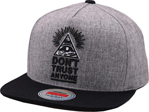 sujii ILLUMINATI Baseball Kappe Hysteresenhut Baseball Cap Snapback Hat-Triangle/Grey