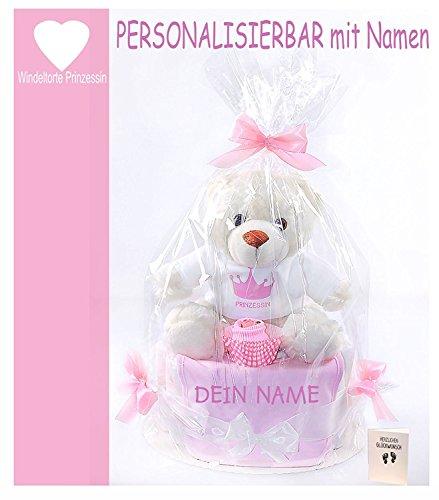 Produktbild PERSONALISIERBARE Windeltorte rosa Mädchen - Babylätzchen mit gewünschten Namen+rosa Babysocken + großer Teddybär+ Grußkarte| Geschenk Geburt