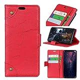 FugouSell Nokia 3.1 Plus Leder Hülle, Premium PU Leder etui Schutzhülle Tasche mit Kippständer, Slim Flip Case Cover für Nokia 3.1 Plus (Rot)
