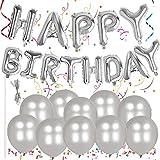 Outee Alles Gute Zum Geburtstag Alphabet Ballons Banner Buchstaben Folie Ballons 10 Silber Metallic Latex Ballons mit Einer Schnur und Stroh für Party Supplies