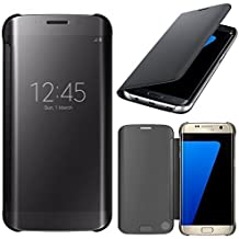 VCOMP® Housse Coque Etui Clear View Smart Cover pour Samsung Galaxy S7 edge G935F/ G935FD/ S7 edge (CDMA) G935 - NOIR