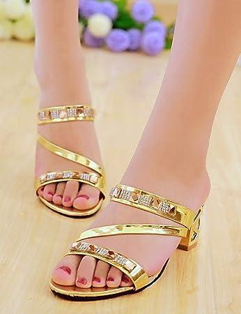 ShangYi Women's Shoes Heel Heels / Peep Toe Sandals / Heels / Clogs & Mules Outdoor / Dress / Casual Silver / Gold/T75 , golden-us6 / eu36 / uk4 / cn36 , golden-us6 / eu36 / uk4 / cn36
