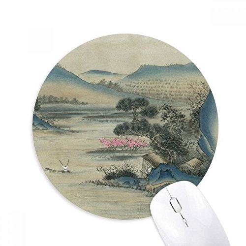 DIYthinker Hills Fischerboot Chinesische Malerei Runde Griffige Gummi Mousepad Spiel Büro Mauspad Geschenk (Gummi-fischerboote)