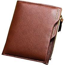 Cartera de Cuero Monedero de para hombre, Gracosy RFID de bloqueo Billetera Monedas Cremallera Billetera Tarjetero de Crédito con ranura para tarjeta de identificación removible