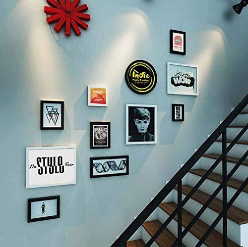 XHCP 11 Bilderrahmen Treppe Wanddekoration Wandkombination, TV Hintergrund Wandbehang Gemälde Kombination Dekoratives Gemälde, kreativer Wandbehang Massivholzrahmen, Audio Video Classics Audio/s-video-kit