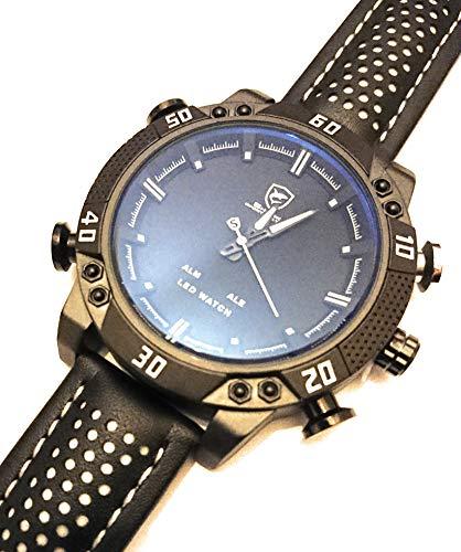 Shark Men's LED Date Day Alarm Digital Analog Quartz Sport Black Leather  Band Wrist Watch SH264 White