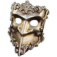 Máscara veneciana de lujo media Bauta barroco con cristales de Swarovski para hombres (plateado)