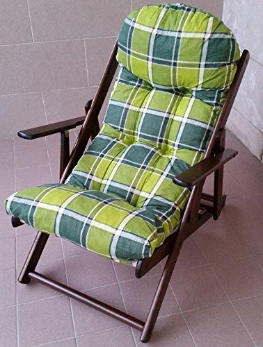 Fauteuil chaise longue relax maison et jardin en bois pliable Coussin Super rembourré H 100 cm séjour cuisine salon réglable 3 positions