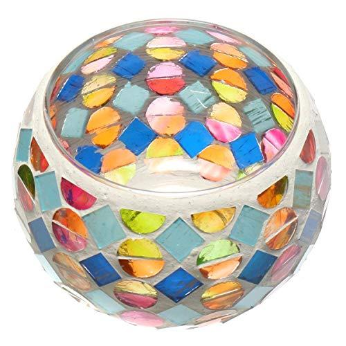 King Do Way mosaïque Bougeoir en verre clair Poignée Photophore Bougeoir Lanterne lampe Cheminée