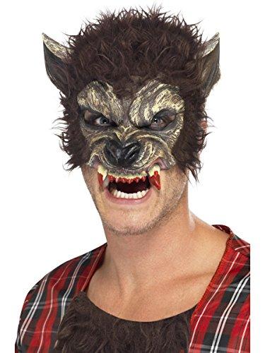 Kostüm Zubehör Maske Werwolf braun mit Haaren und Zähnen (Braun Für Maske Werwolf Erwachsene)