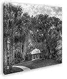 deyoli Pavillon in Bezaubernder Landschaft in Florida im Format: 40x40 Effekt: Schwarz&Weiß als Leinwandbild, Motiv auf Echtholzrahmen, Hochwertiger Digitaldruck mit Rahmen, Kein Poster oder Plakat