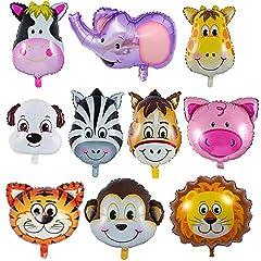 Idea Regalo - LAKIND Palloncini Animali Giungla,10-Pack Palloncini Animali,Palloncini Animali Fattoria,Palloncino Testa Animale,per Compleanno Festa Decor Bambini Regalo Bambini (10-Pack)