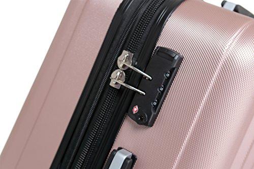 TSA-Schloß 2080 Hangepäck Zwillingsrollen neu Reisekoffer Koffer Trolley Hartschale XL-L-M(Boardcase) in 12 Farben (Rosa, L) - 3