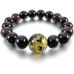 MunkiMix 12mm Pulsera Energía Eslabones Link Enlace Muñeca Energía Piedras Negro Oro Dorado Tono Dragón Budismo Budista Mala Bola Bead Hombre,Mujer