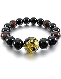 MunkiMix 12mm Pulsera Energía Eslabones Link Enlace Muñeca Energía Piedras Ágata Negro Oro Dorado Dragón Budismo Budista Mala Bola Bead Hombre,Mujer